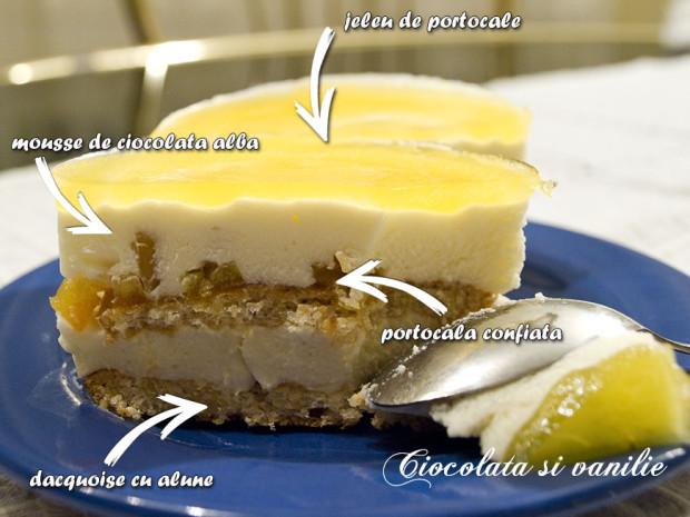 prajitura cu jeleu de portocale si mousse de ciocolata