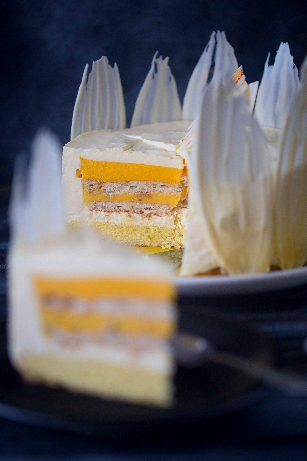 Tort cu mango, fructul pasiunii și mousse de cremă de brânză